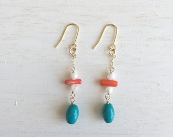 Kainoa Turquoise and coral earrings, and coral earrings