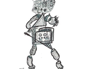 """Pinball From Outer Space - B&W - 11""""x14"""""""