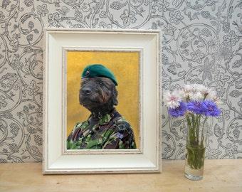 Labradoodle Royal Marine Framed Pet Portrait Print