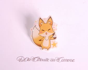 Kawaii style fox pin badge, stars