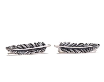 Sterling Silver Ear Cuff Feather Ear Sweep Pin Earrings Boho Jewelry - FES002SSO