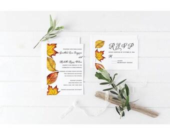 Fall Wedding Invitation Set Suite - Fall Autumn Leaves - Red Orange Yellow - September October Wedding - Digital Printable Invitation