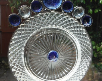 Sparkling Miss America Plate with Blue Glass Gems