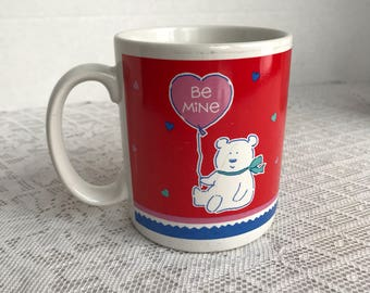 Vintage Red Teddy Bear Coffee Cup for Valentine's Day Made in Korea / Ceramic Red and White Coffee Mug by Hallmark