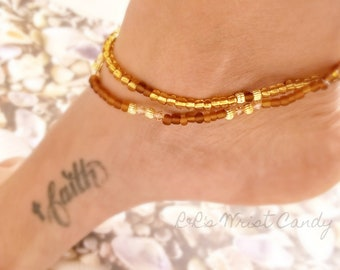 Brown and Gold Beaded Anklet Set, Boho, Beach, Summer, Minimalist, Fashion Womens, Custom Handmade Beaded Jewelry