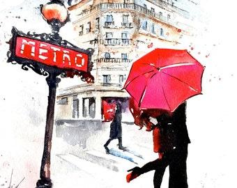 Paris in Rain, Watercolor Art, Travel Keepsake, Red Umbrella Watercolor, Lana Moes' Romantic Bliss Collection, Wanderlust, Giclee Art Print