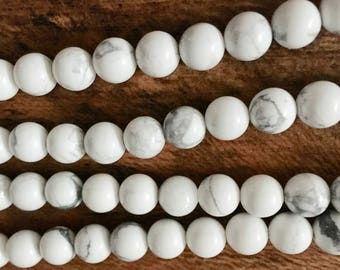 White Howlite Gemstone Rounds 8mm 8 inch Strand Approx. 23 pcs
