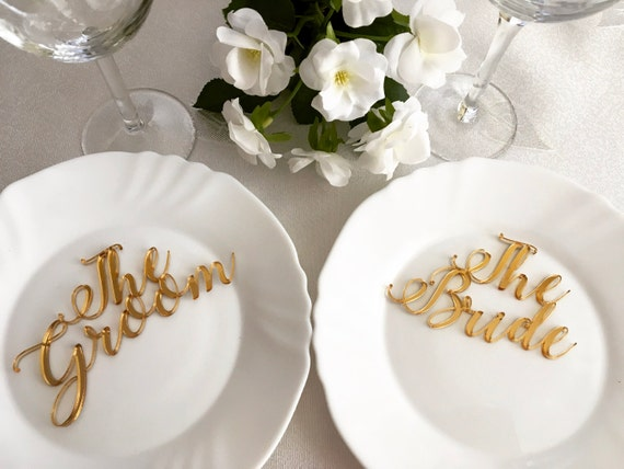 Bride and Groom Signs Laser cut names Wedding place cards Personalized names Table place settings Wedding sign set Mr and Mrs Escort cards