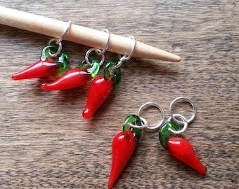 Chili Pepper Stitch Markers, Set of 5