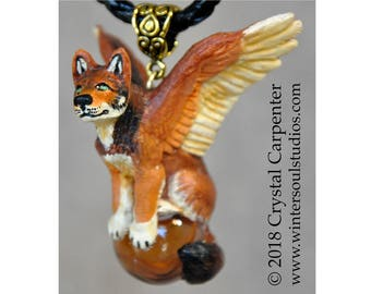 Canyon Angel Red Wolf - Collectible Hand Painted Canine Dog Coyote Necklace Pendant Ornament Sculpture Wild