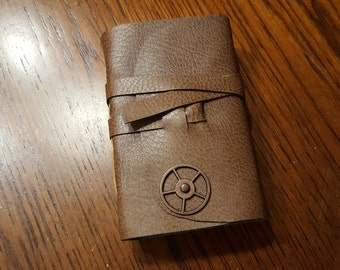 Small Handmade Pocket Journal - Softcover Wrap Around Cord and Cog Accent
