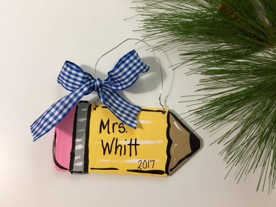 Personalized, hand painted, pencil,  christmas ornament,  Hand painted teacher ornament, artist ornament, personalized pencil ornament