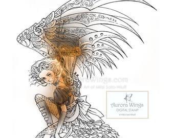 Digital Stamp - Instant Download - Steampunk Dark Angel - Girl with Mechanical Wings - digistamp - Fantasy Line Art for Cards & Crafts