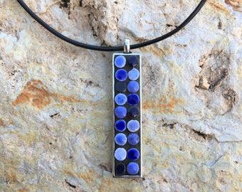 Mosaic Blue Necklace/Blue Mosaic Necklace/Blue Necklace/Blue/Mosaic Necklace/Mosaic Jewelry/Boho Necklace/Boho Jewelry/Gypsy Necklace/P144
