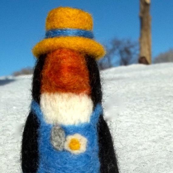 Needle Felting Kit, DIY,  Craft Kit, Spring Penguin, gardener, garden