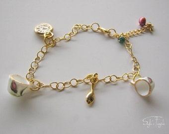 Charm bracelet - NEW - Tea for two