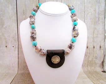 Agate and Jasper Necklace with Pendant and Matching Earrings