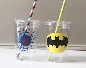Superhero Party Cups, Supergirl Birthday Party Favors, Batman Party Favors, Spiderman Party Cups, Superhero Birthday Party Ideas