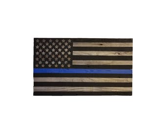 Wooden Police Blue Stripe Flag, American Flag, Reclaimed Wood, Handmade, Rustic Wooden American Flag, Blue Stripe Flag