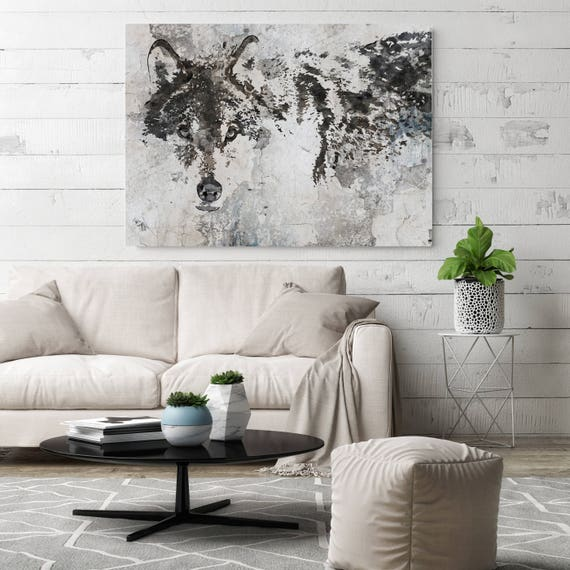 Wolf Canvas Art, Wolf Canvas Painting, Wolf Wall Art, Wolf Painting, White Grey Wall Art, Big Wolf, Wolf Wall Decor, Wolf Art Print