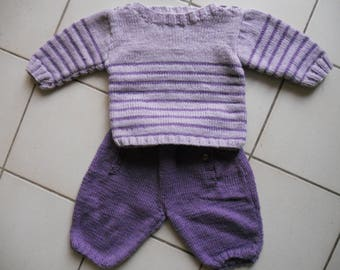 mauve and purple 3 months sailor set