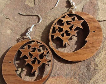 Sustainable Wooden Earrings - Moon and Stars - in Walnut - small