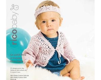 RICO BABY Petit livre à tricoter 22 designs pour bébé de 0 mois à 3 ans en coton soft et print 021