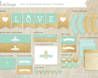 Bridal Shower Decorations  // Printable // Mint Green & Gold Collection