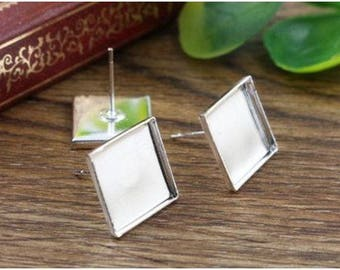 20 Pcs (12 mm) Silver Plated Blank Square Earring Studs