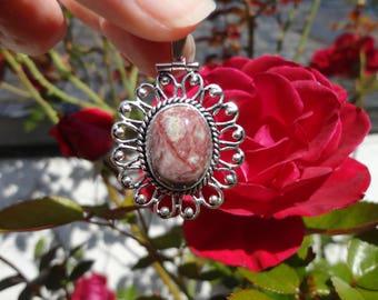 ocean Jasper flower pendant, silver plated
