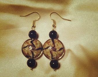 Ramona (Brown and Gold Glass Bead Earrings)