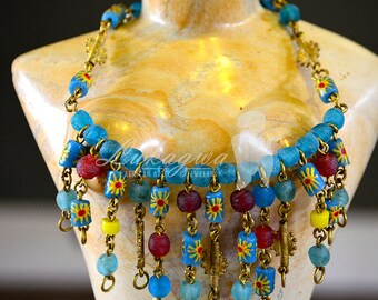 Blue and Yellow African choker,Blue African beaded Choker,Yellow Afrocentric Choker