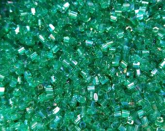10/0 MATSUNO HEXAGON 2 Cuts Transparent Light Green Rainbow seed beads Vintage Japanese Beads 10/50/100/450 Grams