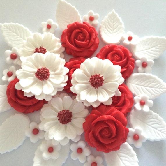 RED ROSE BOUQUET edible sugar paste flowers valentine cake cupcake ...