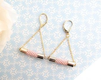 Beaded earrings , Dangle earrings , Chaine earrings , Chandelier earrings , Pink earrings , Bead crochet , Gold earrings , Bridesmaid gift
