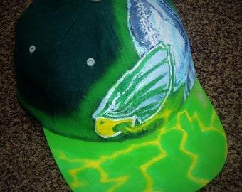 """Eagles Trophy Hat - Superbowl Celebration Cap """"Green Envy"""" Custom Design and Hand Painted"""