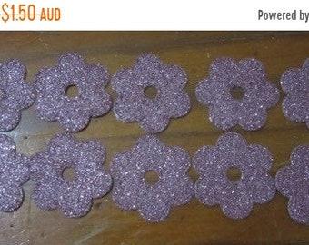 Half Price Sale Set of 10 Pink Glitter Flowers