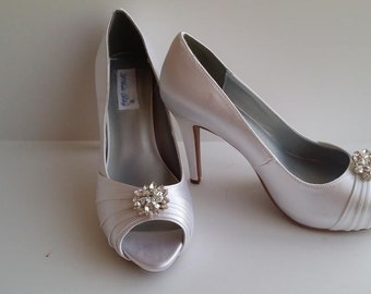 Wedding Shoes Bridal Shoes Bridesmaid Shoes - Over 100 Color Choices to Pick From Crystal Flower Swirl Brooch