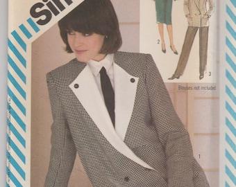 Boxy 80s Jacket, Pants & Skirt Pattern Simplicity 6104 Size 10 Uncut
