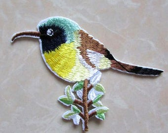 Bird, Hummingbird, fusible fabric applique patch iron-on or sew