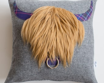 William Highland Cow Cushion with Luxurious Faux Fur and Alzheimer's Scotland tartan