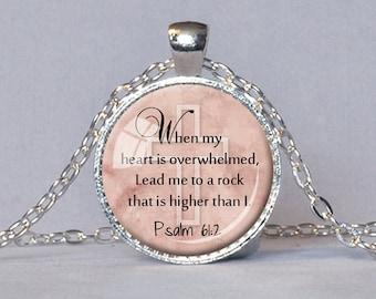 PSALM 61:2 SCRIPTURE PENDANT Bible Verse Necklace Christian Jewelry Scripture Necklace Christian Gift Courage Hope Strength Judaica