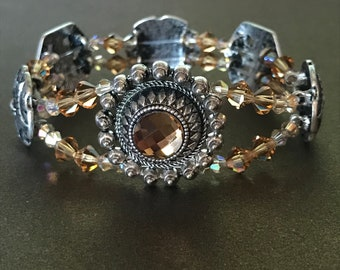 Topaz and Silver Sliders with Champagne Bicones Stretch Bracelet