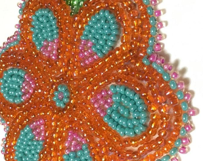 """Alaska Handmade Beaded Flower-3x4"""" in Czech Glass Beads-Sparkling Orange"""