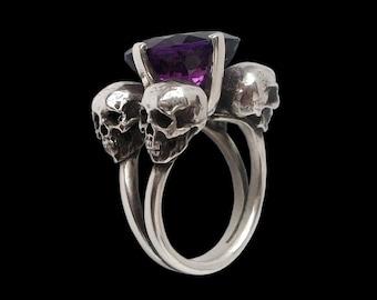 Skull ring - Sterling Silver Four horsemen Engagement skull Ring w/ 12 mm Feceted Amethyst- ALL SIZES