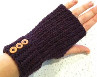 Crochet Wrist Warmers, Fingerless Gloves in Plum Mist Heather, Purple with Button