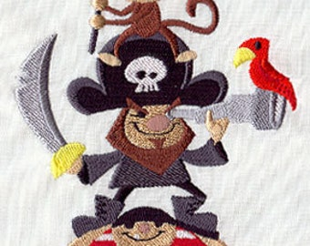 Pirate Stack Embroidered Flour Sack Hand/Dish Towel