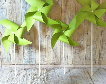 Pinwheels - Lime Green with tiny polka dots - Set of 6 Pinwheels