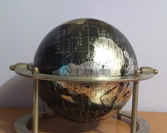 """World Desk Globe Blue and Silver 9"""" X 12"""" copyright 2008Fast secure shipping."""