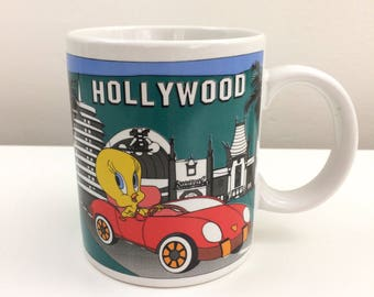 Vintage 1996 Looney Tunes Tweety Hollywood Sign Mug